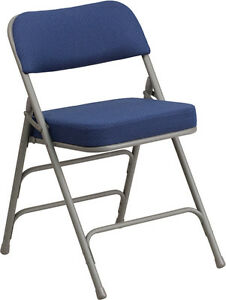 Commercial Quality Heavy Duty Fabric Padded Navy Patter Steel Folding Chairs