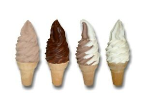 4 Assorted Soft Serve Cone 12 Decals Ice Cream Truck Parlor Machine Menu Sign
