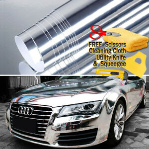 24 X 60 Silver Chrome Mirror Vinyl Film Wrap Sticker Stretchable 2ft X 5ft