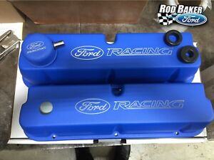 Ford Racing Blue Satin Valve Cover Set Fits 289 302 351w Left And Right Cover
