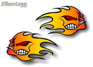 2 Flaming Skulls 9 Vinyl Autobody Fire Decals Golf Cart Jdm Racing Illest Turbo