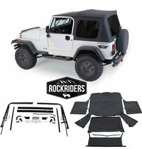 1976 1995 Jeep Wrangler Cj7 Soft Top Kit For Jeeps W Full Doors Black Tinted