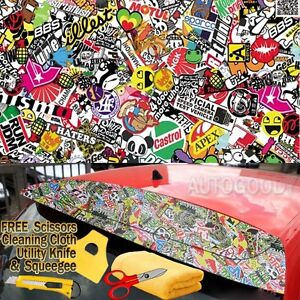 96 X 60 Jdm Illest Stickerbomb Graffiti Cartoon Vinyl Film Wrap Sticker Decal