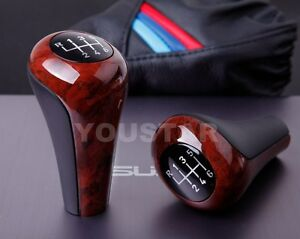 Usa Stock Elegant Burl Wood Effect Glassy Manual Gear Shift Knob For Bmw 6 Speed