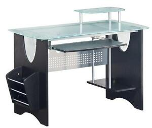 Modern Glass Computer Desk With Pullout Keyboard And Magazine Rack Glass Shelf