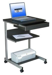 Mobile Laptop Desk With A Pullout Drawer And 2 Shelves With Wheel Casters