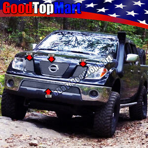 For Nissan 2005 2008 Frontier 05 2007 Pathfinder 4pc Polished Grille Combo