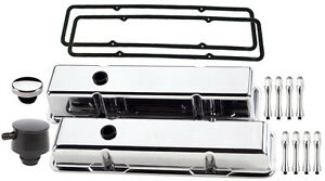 Billet Specialties Polished Short Valve Covers black Pcv Breather oil Cap ac sbc