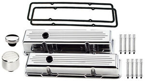 Billet Specialties Polished Short Valve Covers milled breather oil Cap hex sbc