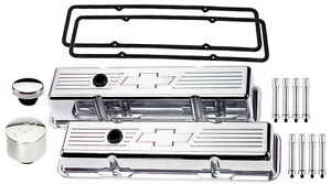 Billet Specialties Polished Short Valve Covers chevy Bowtie breather cap hex sbc