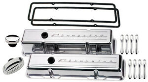 Billet Specialties Polished Short Valve Covers Chevrolet Script Breather Acn Sbc