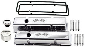 Billet Specialties Polished Short Valve Covers cross Flags breather cap hex sbc