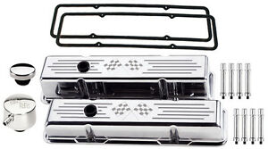 Billet Specialties Polished Short Valve Covers cross Flags pcv Breather hex sbc