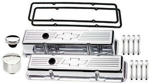 Billet Specialties Polished Tall Valve Covers chevy Bowtie breather cap acn sbc