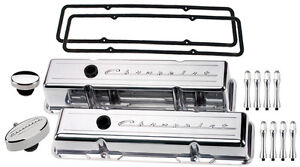Billet Specialties Polished Tall Valve Covers Chevrolet Script Pcv Breather Acn