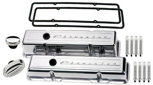 Billet Specialties Polished Tall Valve Covers chevrolet Script breather ribd sbc