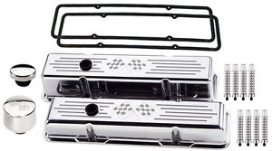 Billet Specialties Polished Tall Valve Covers cross Flags breather cap ribd sbc