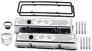 Billet Specialties Polished Tall Valve Covers cross Flags breather cap hex sbc