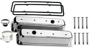 Billet Specialties Polished Tall Valve Covers sbc Center Bolt pcv Breather cap
