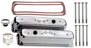 Billet Specialties Polished Tall Valve Covers Sbc Center Bolt Cross Flags Breath