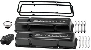 Billet Specialties Black Tall Valve Covers chevrolet Script pcv Breather acn sbc