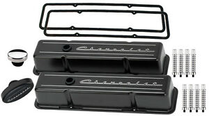 Billet Specialties Black Tall Valve Covers chevrolet Script breather rb aluminum