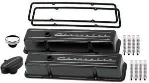 Billet Specialties Black Tall Valve Covers chevrolet Script pcv Breather rib sbc