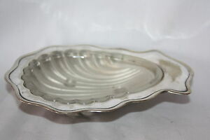 Vintage Silverplate Shell Caviar Butter Jam Soap Dish Deco Glass Liner 6 X 4 5