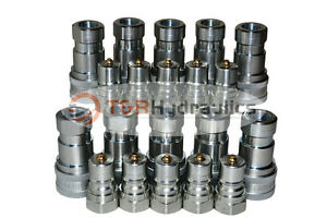 10 Sets Of 3 8 Iso 7241 b Hydraulic Quick Disconnect Couplers