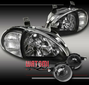 93 94 95 Honda Del Sol Crystal Jdm Black Head Light corner W bumper Fog Lamp Kit