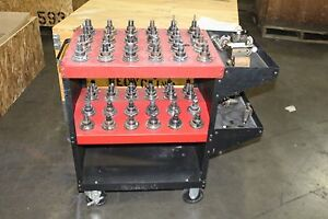 Lot Of 56 Taper Tool Holder Shrinker Parlec With Cart And Vise