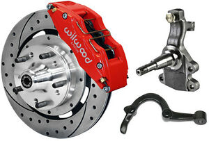 Wilwood Disc Brake Kit 2 Drop Spindles Arms Front 64 72 12 Drilled 6 Pis Red
