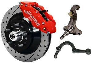 Wilwood Disc Brake Kit spindles arms Lines front 64 72 13 Drilled Rotors red