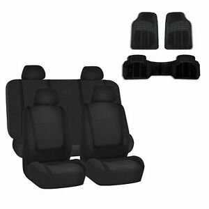 Car Seat Cover Solid Black Set For Auto W Rubber Floor Mat
