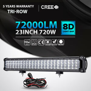Tri Row 23 inch 720w Cree Led Light Bar Spot Flood Offroad Lamp 4wd Driving Car