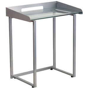 Modern Contemporary Desk With Clear Tempered Glass And Silve Frame Laptop Desk