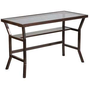 Modern Contemporary Desk With Dark Gray Tempered Glass With Brown Frame Finish