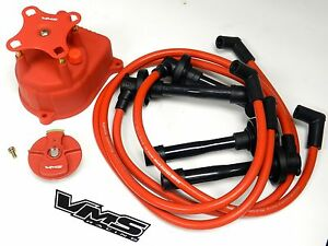 Distributor Cap Rotor Spark Plug Wire Kit For 94 01 Acura Integra B18 Dc Red