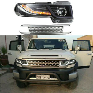 New Led Halo Projctor Headlight With Grille For 2007 2014 Toyota Fj Cruiser