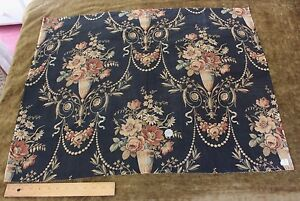 Antique French Gorgeous Floral Vases Toile Fabric C1860 L 25 X W 31