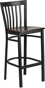 Black School House Back Metal Restaurant Barstool With Walnut Finish Wood Seat