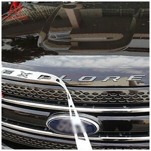 Fm Us Black Graphite Hood Emblem Letters Letter Fit 11 2019 Ford Explorer Gloss
