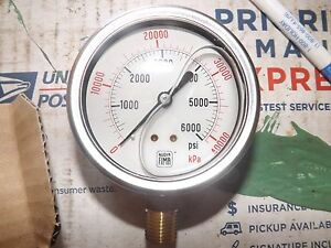 Lot Of 15 Nuova Fima Glycerin Pressure Gauge 0 6000 Psi Brass 1 4 Npt Snubber