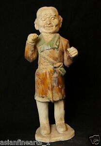 Tang Dynasty Old Tang San Cai Chinese Antique Pottery Man Figure Statue 670
