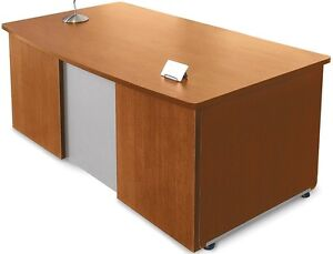 36 d X 72 w Contemporary Executive Office Desk In Cherry Finish Office Desk