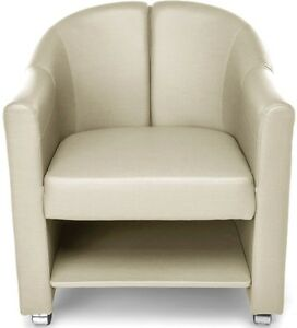 Mobile Club Lounge Chair In Linen Vinyl With Lower Bottom Storage Lounge Chair
