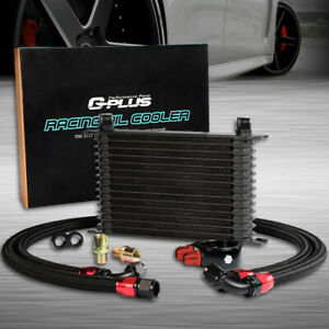 15 Row An10 Universal Engine Transmission Oil Cooler Black Filter Adapter Kit