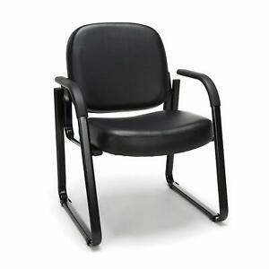 Anti bacterial Black Vinyl Clinic Side Chair W arms Doctor Office Side Chair