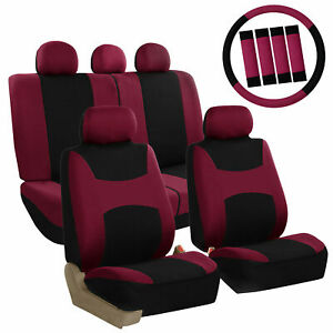 Car Seat Covers For Auto Full Set Burgundy W steering Wheel belt Pad 5head Rest