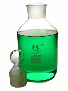 2000ml Reagent Bottle Borosilicate Glass With Wide Mouth And Stopper